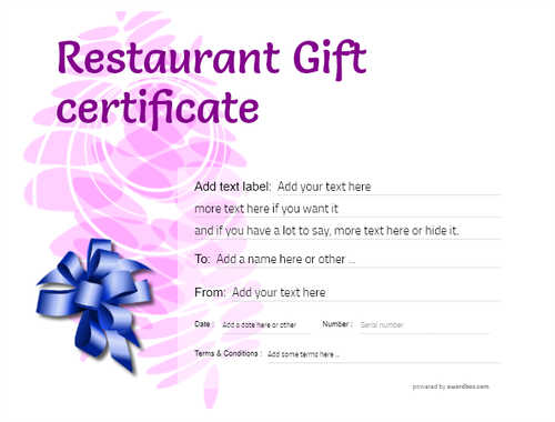 restaurant  gift certificate style9 purple template image-21 downloadable and printable with editable fields