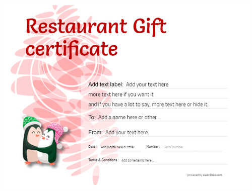 restaurant  gift certificate style9 red template image-22 downloadable and printable with editable fields