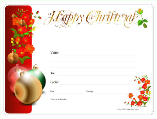 simple free christmas design gift template with fun decoration and black line border