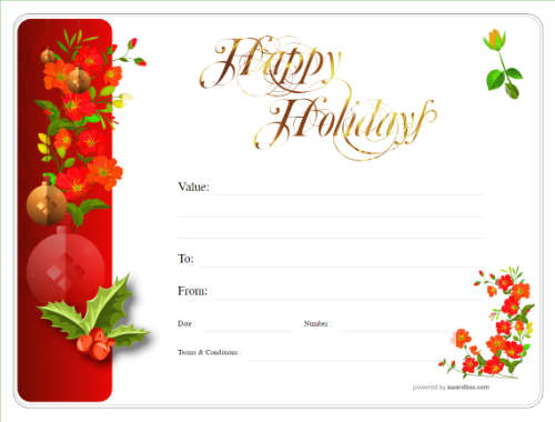 simple free christmas design, with fun decoration and black line border gift certificate