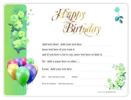 green floral design with jolly balloon decoration, editable birthday gift certificate template, free to downloadable and print