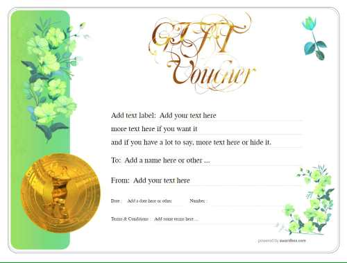 dance gift voucher template free printable and editable with serial number and swirly gold text with changeable graphic motif