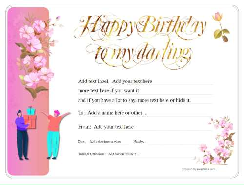 floral design free printable happy birthday gift voucher template with gold script title on pink background customizable