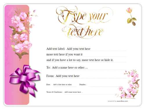 delicate pink flower background gift certificate, customizable free template with editable graphics and text for printing