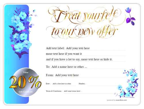 20% discount gift certificate template for business or home use fully editable graphics and text free to download