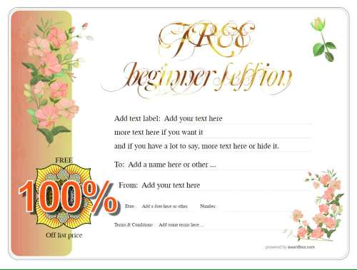 free session customizable gift certificate template with pretty flower design for downloading or social media