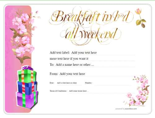 printable free breakfast in bed gift certificate template with pink flowers and gold exitable text. for commercial or public use