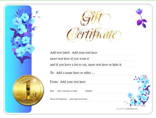 free customizable blue flower pattern gift certificate with gold swirly heading for download with serial number as printable pdf