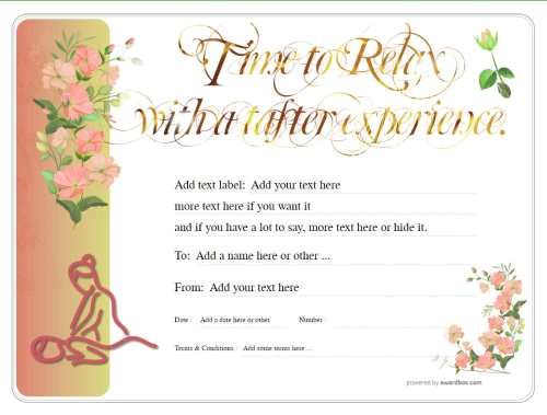 free commercial business massage gift certificate template on a flowery background with editable gold text and graphics