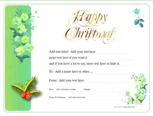 free christmas gift certificate template with green flowers and holly for business customizable for download or social media