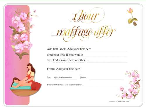 delicate pink flower design gift certificate, business template customizable for free print with swapable massage graphic