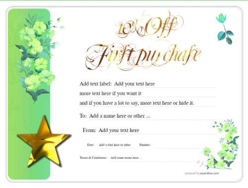 gift certificate fully editable template with script text and green flower background for free download and home printing