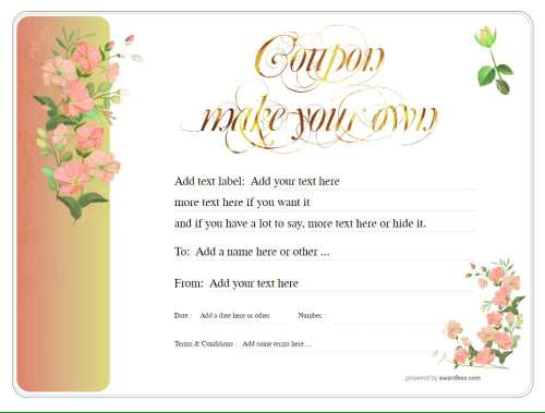make your own coupon gift template with flower background. editable text and graphics for free printing and download