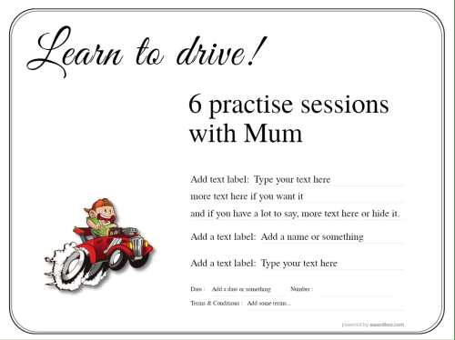 simple printable design with fun driving cartoon editable template for driving lessons, free unlimited use commercial or home
