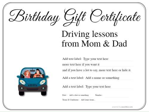free birthday driving lesson gift certificate fillable template, downloadable for print on a simple white background with border