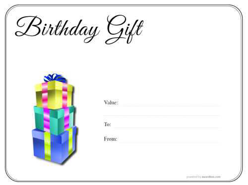 editable happy birthday gift voucher with simple black and white border design for download and printing