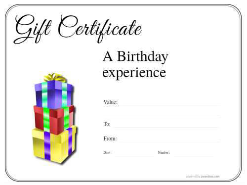 free happy birthday printable gift certificate template of customizable modern design with block colors