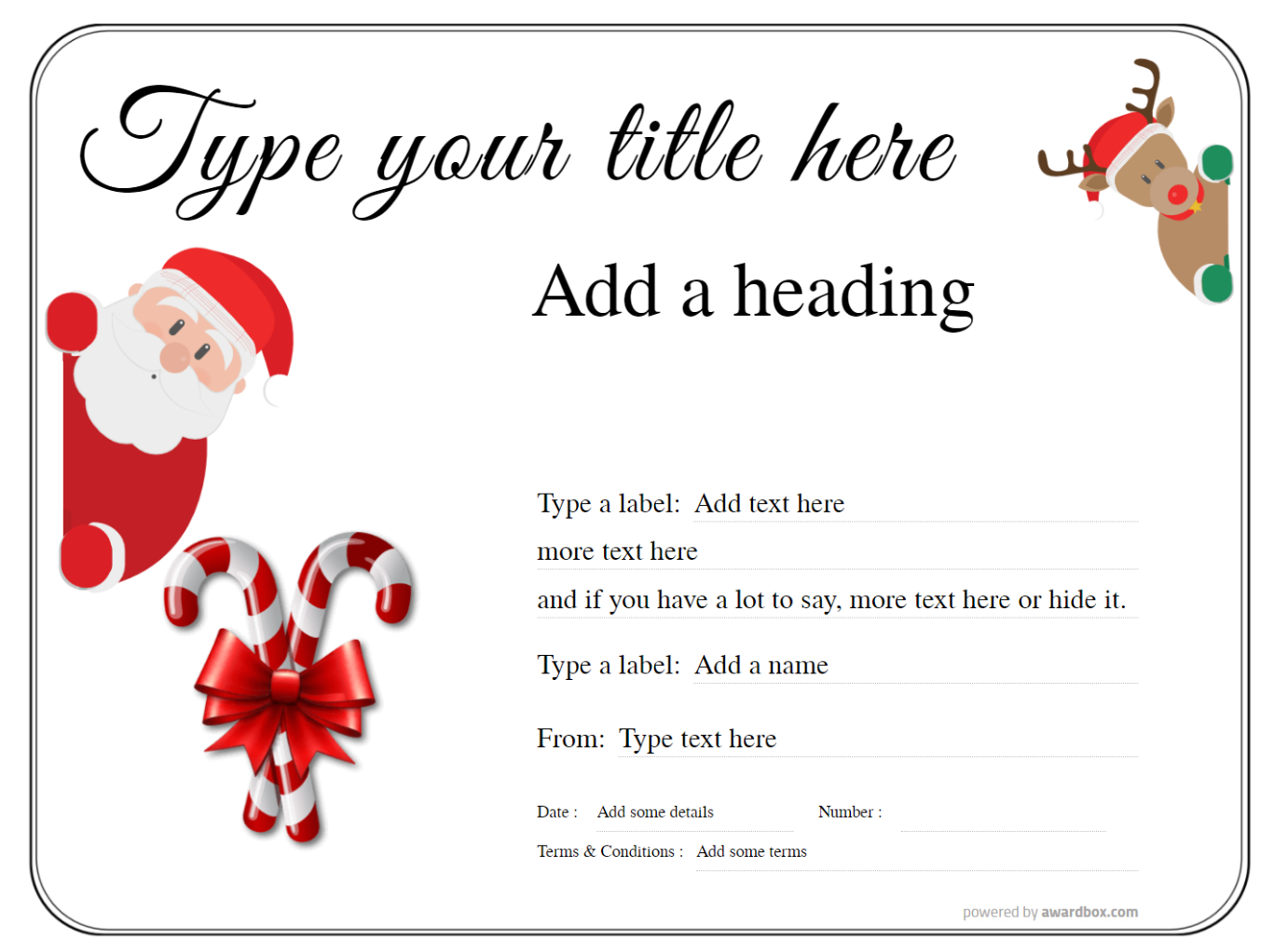 a simple christmas background of santa and reindeer gift certificate template fillable text with black line border