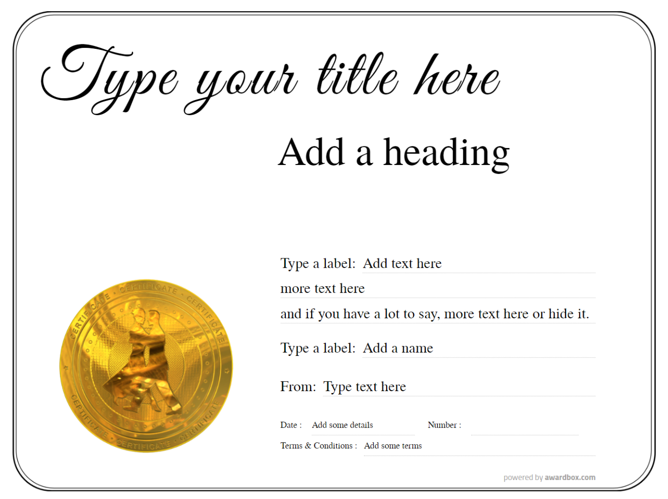 a dance gift certificate customizable template with gold medal badge on a mainly white background with simple border