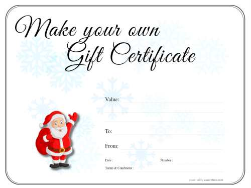 fun childrens christmas background with santa fully customizable gift certificate printable template, snow crystal background