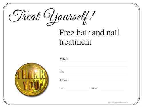 downloadable free spa treatment gift certificate with thank you gold badge on simple line border design template