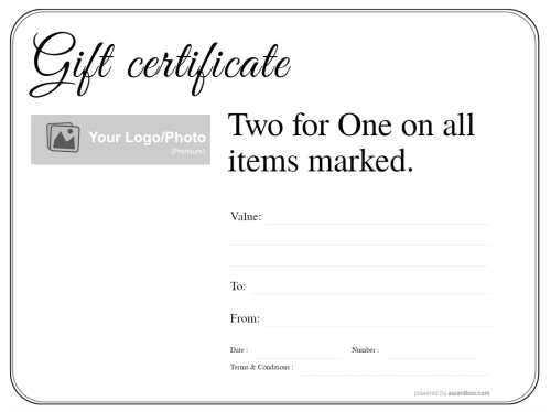 free simple design gift certificate template for restaurant gifts with fillable text and printable