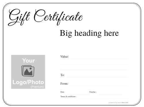 free editable basic black line border on white background printable gift certificate with black script heading