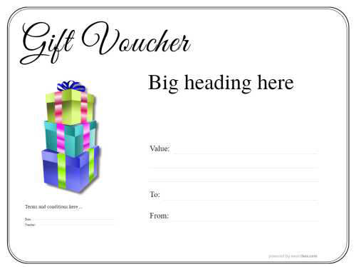 free printable gift voucher template with basic black line border and gift box decoration fully costomizable
