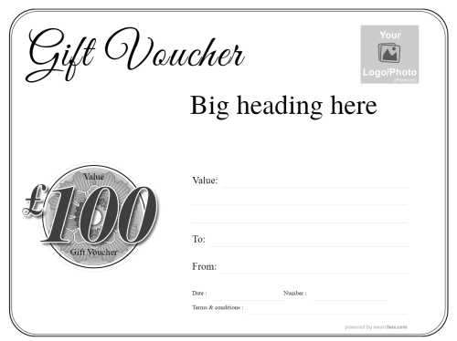 free printable simple black and white voucher template with black script heading and black and white editable roundal