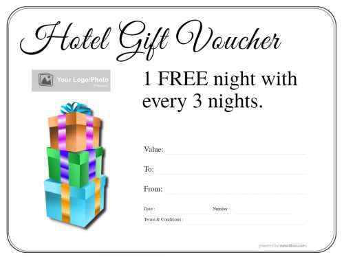 free customizable hotel voucher on simple border design with gift box style decoration for printing
