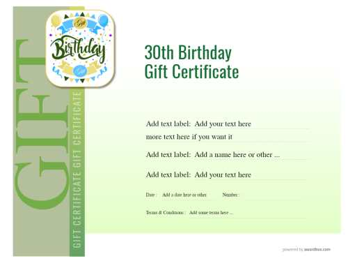 free customizable birthday gift certificate template with fun balloon badge. fully editable and unlimited downloads and print