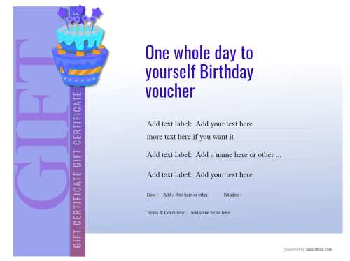 free birthday voucher template to edit with your own text and print at home or commercially. blue graduated background design