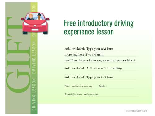 free driving lesson gift certificate for commercial and home use with changeable images. Print or download for free