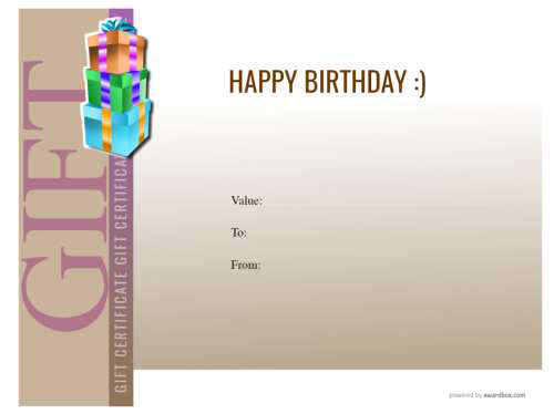 free downloadable birthday gift certificate template of customizable modern design with block colors for home printing