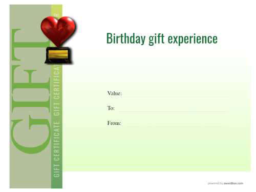 free printable green vignette background birthday gift certificate template with customizable badges and photos