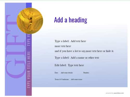 modern style make your own downloadable gift voucher blue background vignette with fillable text and gold tennis medal