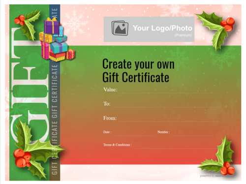 traditional christmas design gift certificate with holly and berries with fillable templaste text for home or business