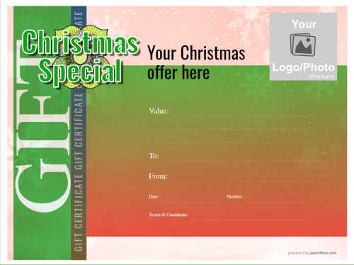 free christmas gift certificate template design with logo for business, customizable green and red vignette design with snowflakes