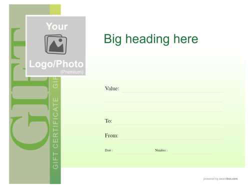 blank green gift certificate in modern design fully editable and downloadable for print with serial number and logo