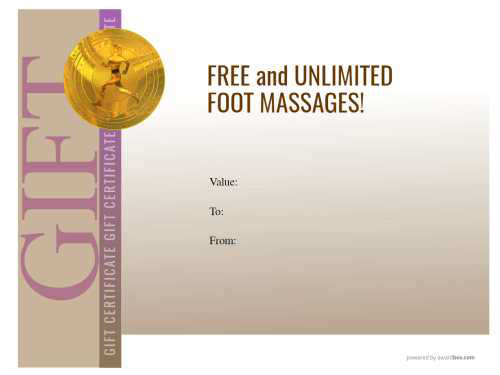 fully editable massage business gift certificate template for download on a modern graduated brown block design and logo