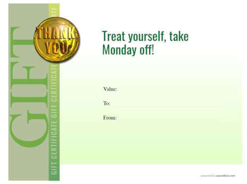 downloadable free employee of the month gift certificate with thank you gold badge on modern green design template