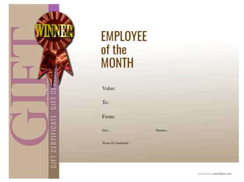a modern design employee of the month customizable template gift certificate free and printable with logo
