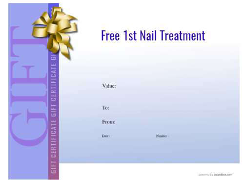 free editable and printable nail salon gift certificate template with green graduated modern background and fillable graphics