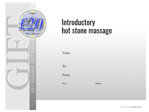 free printable massage business gift voucher editable modern design of flat and graduated colors with logo