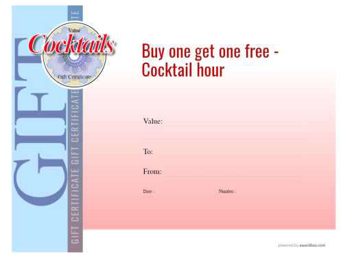 restaurtant gift coupon printable free template with red cocktail decoration on white background and simple line border