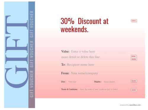 free customizable vacation voucher on red and blue graduated background design for printing with serial number