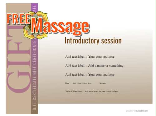 fully editable gift certificate template for massage therapy with fillable decoration graphics for free print or social media