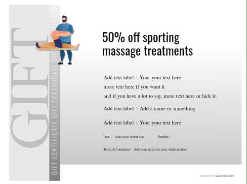 printable 50% off coupon for sports massage, gift template to edit and print for free, commercial or home use.