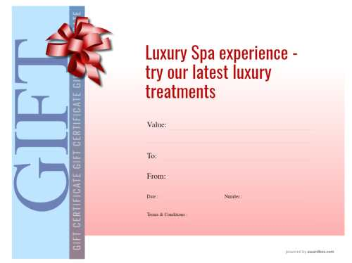 spa gift certificate template with editable text and backgrounds for free home or commercial download and print