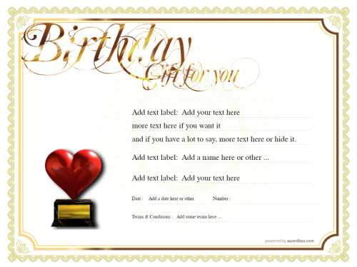 free certificate template with traditional gold border design for birthdays. commercial or home print use